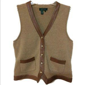 Vintage Ralph Lauren Wool/Cashmere Leather Vest 🐎